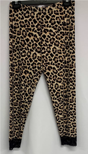 Printed Animal Tights with Lace Detail