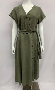 Kelly 100% Linen Asymmetric Hem Dress