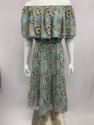 Sam Woven Frill Dress Blue Print