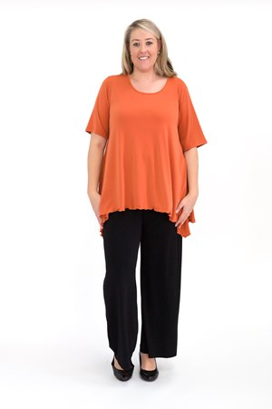 Soft Knit Top with Peaked Sides CURRY