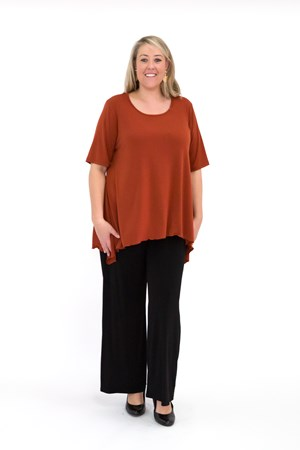 Soft Knit Top with Peaked Sides RUST