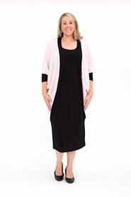 Elise Contrast Long Line Shrug in Woolly Knit PINK