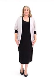 Elise Contrast Long Line Shrug in Woolly Knit BEIGE