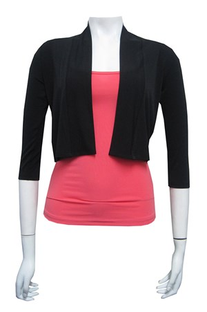 Soft knit cropped shrug with 3/4 sleeves