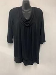 Plain Cowl Neck Top BLACK