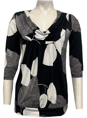 8703 Printed Soft Knit Cowl Top BLACK WHITE PRINT