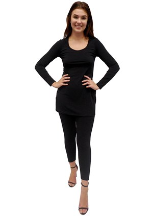 BLACK - Soft knit long sleeve tunic top