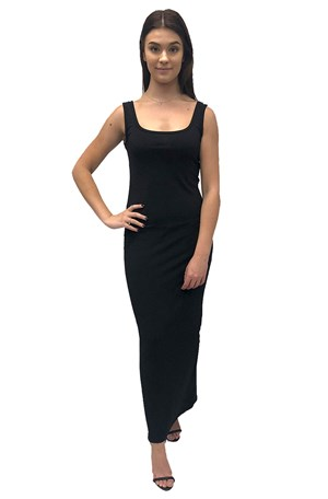 BLACK - Soft knit thick strap maxi dress