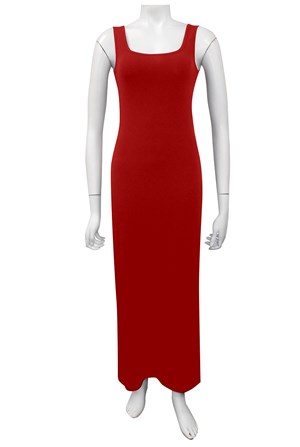 RED - Soft knit thick strap maxi dress