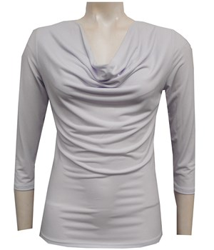 WHITE - Cowl 3/4 sleeve top