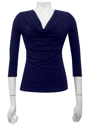 NAVY - Cowl 3/4 sleeve top