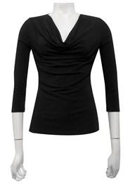 BLACK - Cowl 3/4 sleeve top
