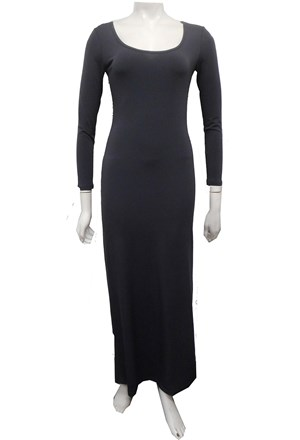 CHARCOAL - Soft knit long sleeve maxi dress