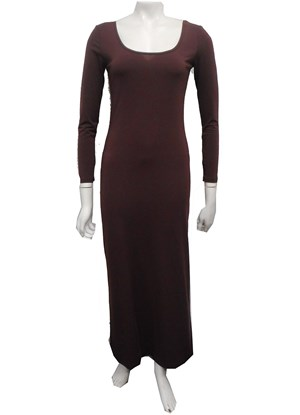 CHOCOLATE - Soft knit long sleeve maxi dress