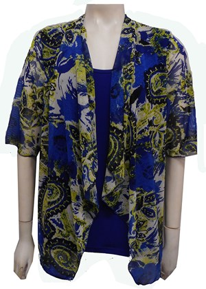 MESH PRINT 54 - Emily mesh all in one waterfall shrug with contrast soft knit under singlet
