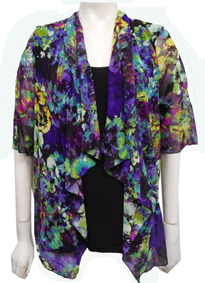 MESH PRINT 55 - Emily mesh all in one waterfall shrug with contrast soft knit under singlet