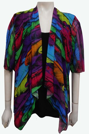 MESH PRINT 61 - Emily mesh all in one waterfall shrug with contrast soft knit under singlet