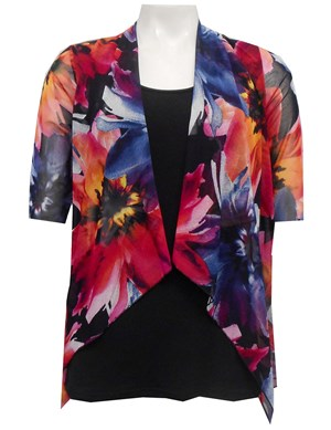 MESH PRINT 62 - Emily mesh all in one waterfall shrug with contrast soft knit under singlet