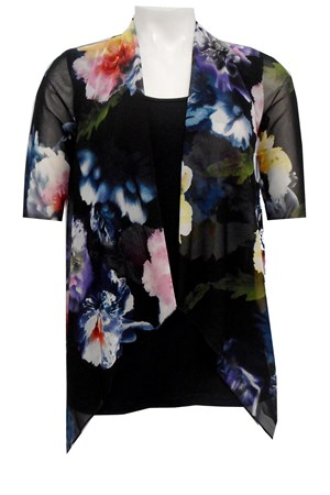 MESH PRINT 63 - Emily mesh all in one waterfall shrug with contrast soft knit under singlet
