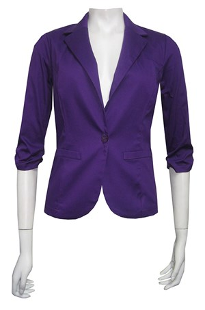 PURPLE - Spring carnival stretch sateen  jacket with ruched sleeves
