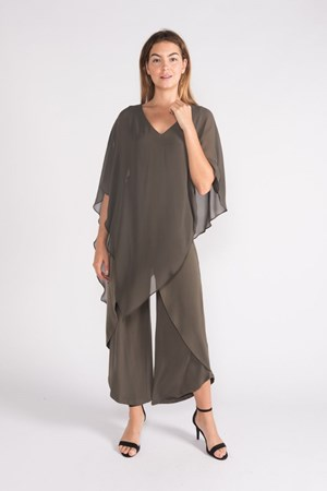 KHAKI - soft knit skirt front pants