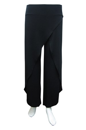 BLACK - Soft knit skirt front pants