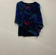 Printed Chiffon Overlay Top BLUE/RED