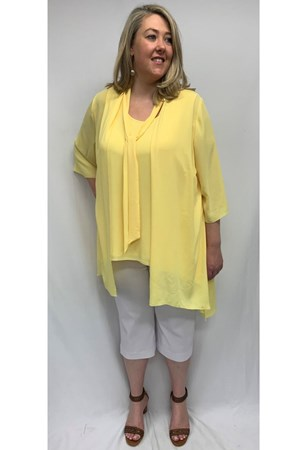Danielle Chiffon Jacket With Tie Detail - Yellow