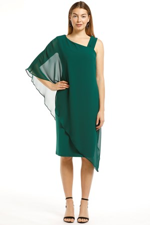 PINE GREEN - Courteney one shoulder chiffon plain overlay dress