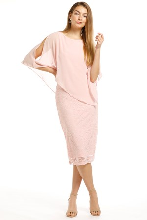 BLUSH - Karen lace dress with chiffon overlay