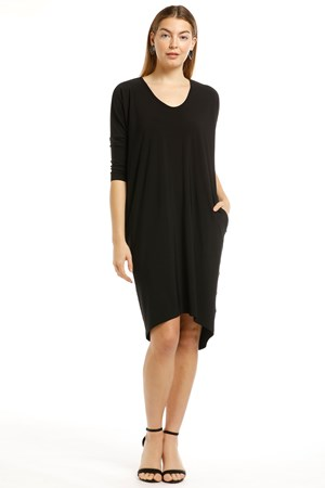 BLACK - Lola plain 3/4 sleeve dress