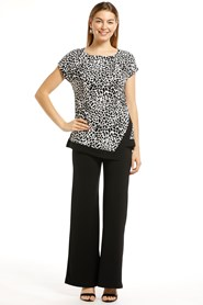 Soft Knit Top Black/White Print
