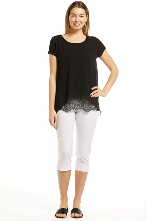 Mila Chiffon Layered Top With Lace Hem Detail