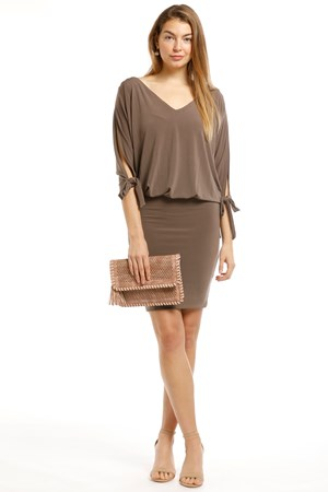 LIMITED STOCK - Ruth Soft Knit Batwing Tie Dress - Taupe