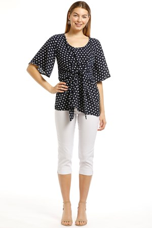 Julia Woven Crepe Top With Tie Detail-Navy Spot