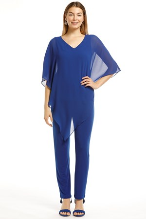 Belinda Chiffon Angled Top With Soft Knit Lining -Royal