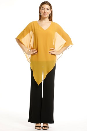 Belinda Chiffon Angled Top With Soft Knit Lining -Mustard