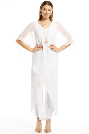 Belinda Chiffon Angled Top With Soft Knit Lining -White