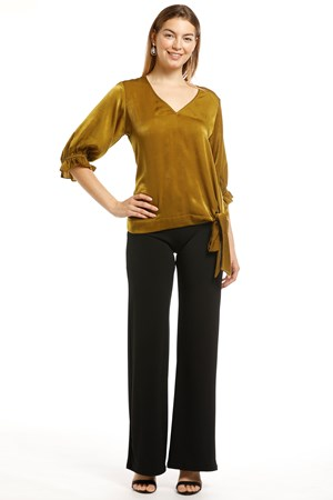 Cindy Satin Luxe Top With Tie Front