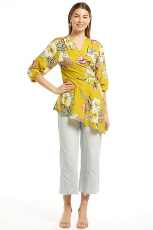 Nancy Woven Angled Wrap Top -Floral