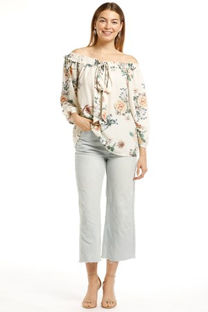 LIMITED Gloria Off-The-Shoulder Heavyweight Chiffon Top With Tie