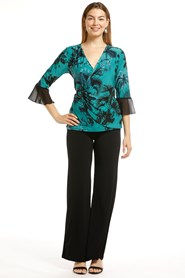 Sharon Soft Knit False Wrap Top With Buckle Detail