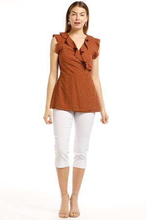 Abby Frill Chiffon Wrap Top - Rust Spot
