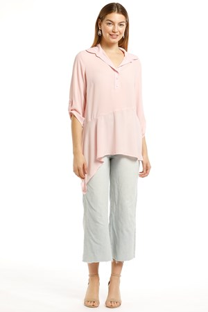 LIMITED STOCK - Wendy Heavyweight Chiffon Collared Top With Button & Tab Detail- Baby Pink