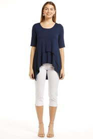 Katrina Breathable Bamboo Double Layer Top- Navy