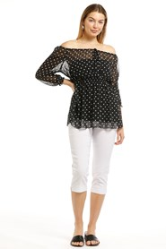 Annabella Black And White Chiffon Spot Top