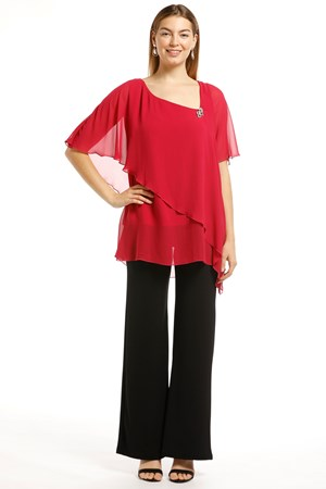 Genevieve Chiffon Top - Hot Pink