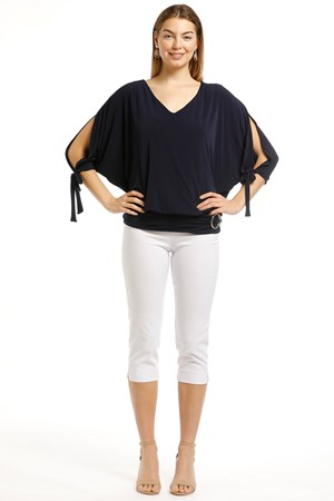 Izabella Soft Knit Tie Sleeve Detail And Buckle