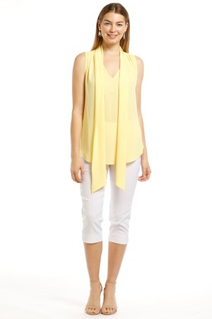 Shirley Chiffon Singlet With Tie Front - Lemon