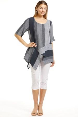 Emily Angle Stripe Linen Shirt